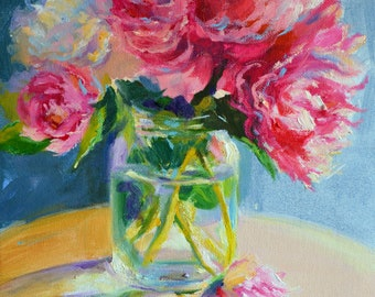 Printable Download of, PEONIES FROM LA, pink and green,mason jar, impressionist still life, instant download