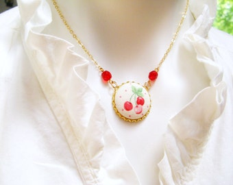 Textile Statement Button Necklace - Cherries, Gold, Red Czech Glass