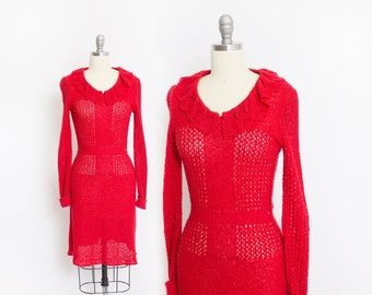 Vintage 1970s Dress - Red Crochet Knit Fitted Day Dress 1970s - Extra Small / XS