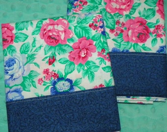 Gorgeous Pair of Cottage Pillowcases with Blue and Pink Cabbage Roses