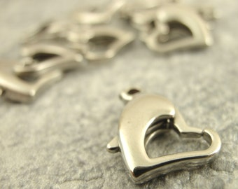 1 Stainless Steel Heart Lobster Clasp - 14mm X 10mm - 100% Guarantee