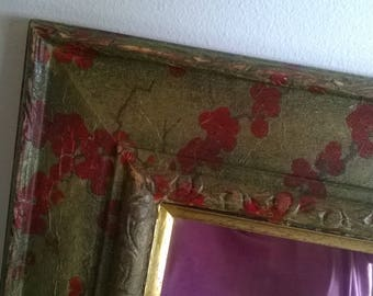 Rectangular Mirror, decorative, shabby chic, decoupaged,gold with red berries in a vintage style. A great gift.