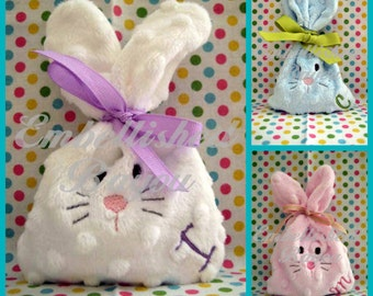 Minky Bunny Treat Bag for Baby or Easter Basket, Personalized with Initial or Monogram