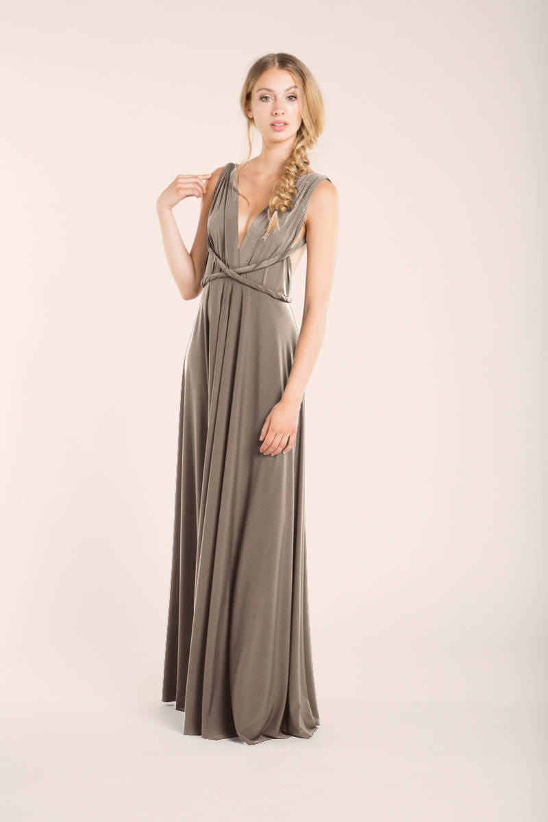 Taupe bridesmaid dress taupe long dress pale brown infinity description taupe long dress long taupe bridesmaid ombrellifo Image collections