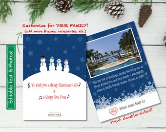 Custom SNOWMAN FAMILY Holiday Card Designed with your Photos in 5x7_PRINTABLE PDF