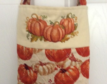 Shopping bag/tote cotton with embroidered pumpkins handmade