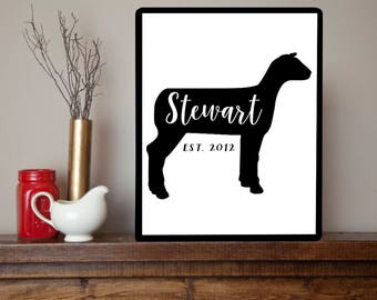 Personalized Sheep Family Name Sign - Market Show Lamb Farm Farmhouse Metal Sign Wall Art Print