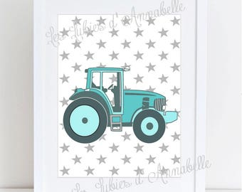 Kids tractor room A4 poster