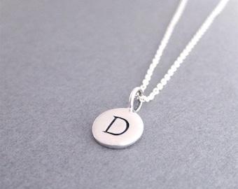 Silver Initial D Necklace, Initial D Charm Necklace, Charm Necklace, D