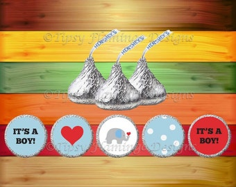 Baby Shower, Hershey Kiss Stickers, Blue Baby Shower Hershey Kiss Labels, Candy, Prince, Party Favors, Printable Instant Download-TFD505
