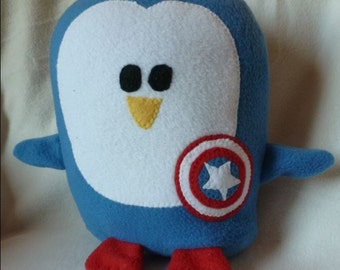 Plush Captain America Penguin Pillow, Baby Safe, Machine Wash and Dry