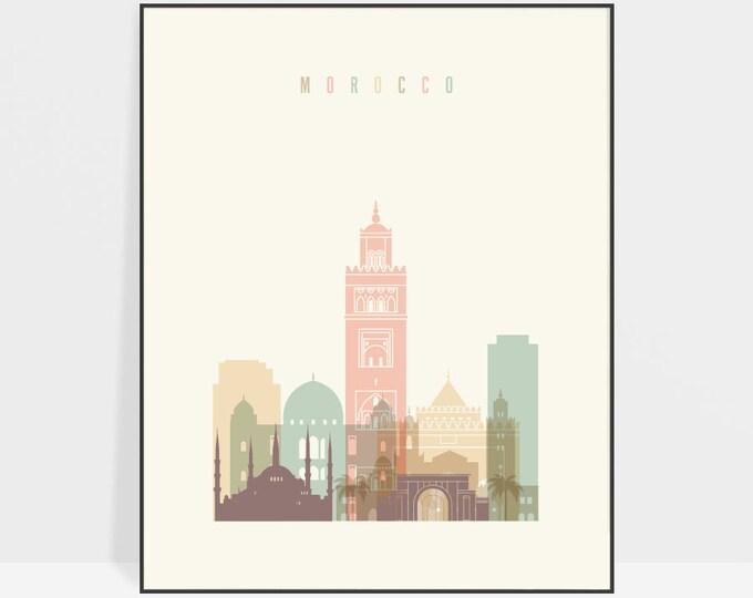 Morocco poster, wall art, Morocco skyline, print, Morocco decor, Travel poster, City print, Housewarming gift, Home Decor, ArtPrintsVicky