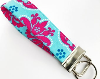 Turquoise Keychain, Turquoise Key Fob, Blue Wristlet Keychain, Blue Wrist Lanyard, Blue and Pink, Girls Key Fob || Turquoise + Pink Floral