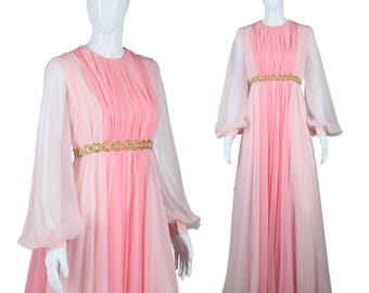Amazing Chiffon Dress 60s Dreamy Gown Poet Sleeve Dress Pink Ombre Dress Waterfall Cape Back Stevie Flowy Gown Maxi Dress