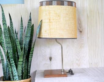 Midcentury Modern Lamp, mcm, wood, teak, brass, linen, geometric