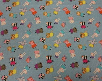 Peppa Pig and Friends, Blue Fabric