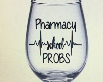 Pharmacy tech gift. Pharmacy tech wine glass. Pharmacy school gift. Pharmacy student gift. Pharmacist gift. Pharmacist wine glass.