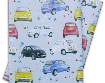 Fiat 500 classic and modern car inspired  gift wrapping, 2 sheets with co-ordinating gift tags