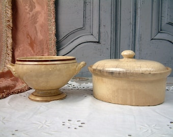 Antique french creamware terrine pot and small soup tureen. Antique ironstone paté pot. Antique ironstone tureen. Rustic farm pottery