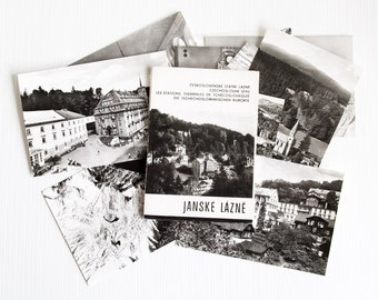 Vintage 11 Postcards Pictured Black and White Janske Lazne Chechoslovakia Post Card Collection Waterfalls from 70s century, ohtteam,