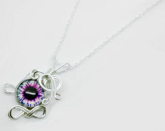Wire Wrap Green Pink Zombie Eye Pendant with Necklace