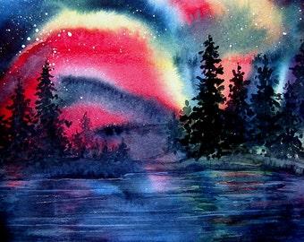 Northern Lights Painting Red Aurora Borealis Lake Landscape Original Watercolor Art by AllKindsofArt artist Glenda Mullins