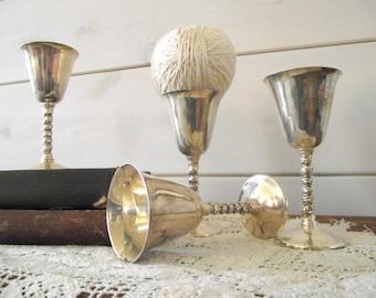 Vintage Birks Silver Plate Cordial Goblets | Primrose Plate | Set of 4 Silver Plate Stemware Cordials | Shabby Cottage Chic | Wedding Decor