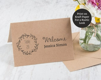 Place cards Template, Wedding Place Cards, Seating Cards, Classic Wreath Place cards, Name Cards, Escort Cards