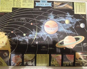 Vintage 1959 Full Color Modern Space Map Rand McNally