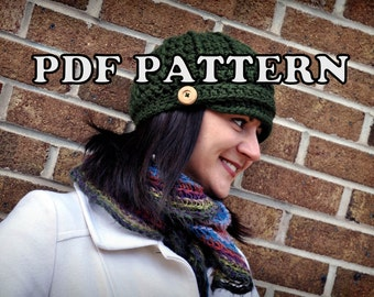 PDF PATTERN - Crochet Newsboy Cap