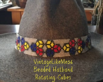 Off-Loom Hand Beaded Rotating Cubes Hat Band