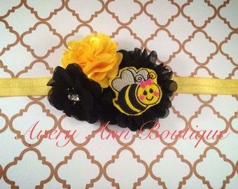 Bee Headband, Newborn Headband, Baby Headband, Bumble Bee Baby Headband, Flower Headband