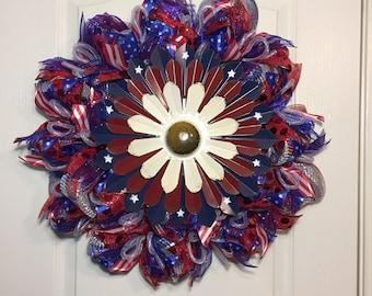 Patriotic Wreath Memorial Day Wreath July 4th Wreath Labor Day Wreath Red White Blue Wreath