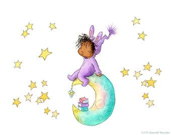 Melody - Toddler Baby Girl on Moon - Brunette Brown Skin - Art Print