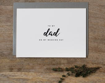 Wedding Card To My Dad On My Wedding Day, To My Father Wedding Card, Wedding Stationery, To My Dad, Thank You Wedding Card, Wedding Note, K8