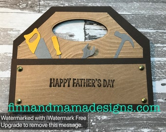 Tools, Happy, Father's Day, Built, Tool Box, Masculine, Men, Wood, Greeting Card, Stamped, Handmade