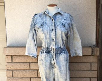 80s Acid Wash Jumpsuit Retro Light Blue Denim Coveralls Tapered Legs Epaulettes Dreams Size Medium