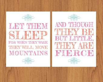 Let Them Sleep For When They Wake And Though They Be But Little They Fierce Twins Twin Nursery Wall Art Set of Two Coral Pink Teal (204)