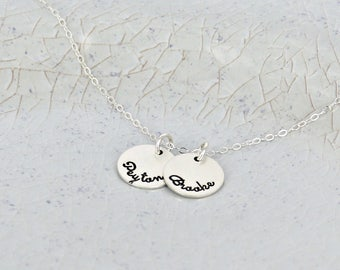 """Mother name necklace • 9/16"""" discs personalized necklace • Kids name necklace • Keepsake name jewelry • Family necklace for mom"""