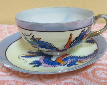 Vintage Chinese Translucent Eggshell Porcelain Tea Cup & Saucer with Blue Dragon Hand-painting