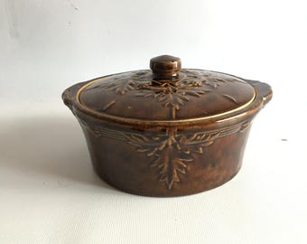 Antique Yellow Ware Crock With Leaf And Fruit Relief Brown Glaze Covered Bowl Primitive Butter Crock