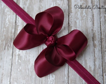 Boutique Burgundy Satin Headband Big Bow Headband Burgundy Baby Headband Toddler Headband Large Bow Headband Christmas Bow