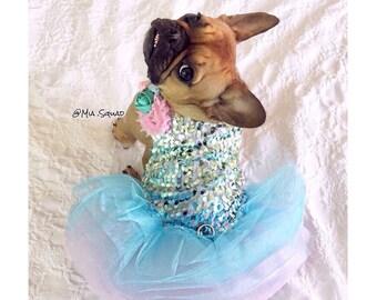 Whimsical Cotton Candy Mermaid Unicorn Tutu Dog Dress