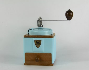 French Vintage Peugeot Coffee Grinder, Coffee Mill,  Sky Blue Enamel 1940s Burr Grinder Fully Restored