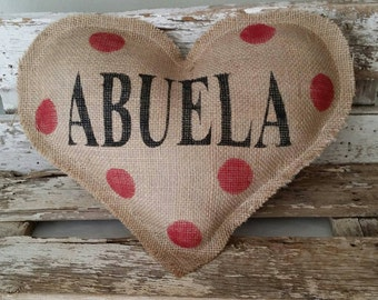 Burlap Abuela Heart Shaped Stuffed Pillow With Red Polka Dots Mother's Day Or Birthday Gift