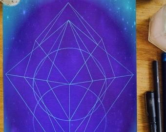 Freedom - sacred geometry, geometric print, freedom energy, cosmic art, healing energy,spiritual art, sacred space, meditation, blue prints
