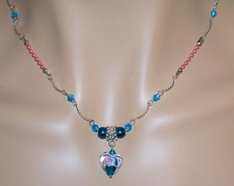Unique Blue and Pink Sweet Sixteen Necklace with Matching Earrings/ Blue and Pink Jewelry/ Teens Necklace/ Blue and Pink Choker Necklace