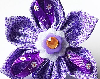 Purple Floral Dog and Cat Collar Flower