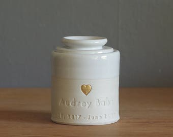 custom infant urn with lid. Custom Handmade infant ashes urn, partial volume adult urn or pet urn. Porcelain, white glaze and gold shown