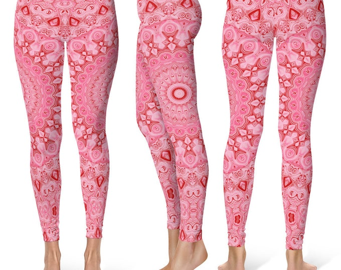 Pink Leggings Yoga Pants, Mandala Printed Yoga Tights for Women, Festival Clothing, Club Wear